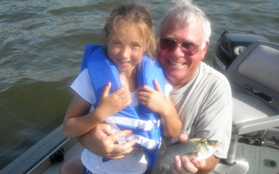 <p>Grandpa Garry showing the granddaughter what fishing is all about.</p>