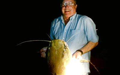 <p>I caught this 75 lb redtail catfish on a handline in Rio Santana, Brazil</p>