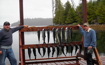 <p>Black rockfish and silver salmon at Sea Otter Sound Lodge at Heceta Island, Alaska</p>